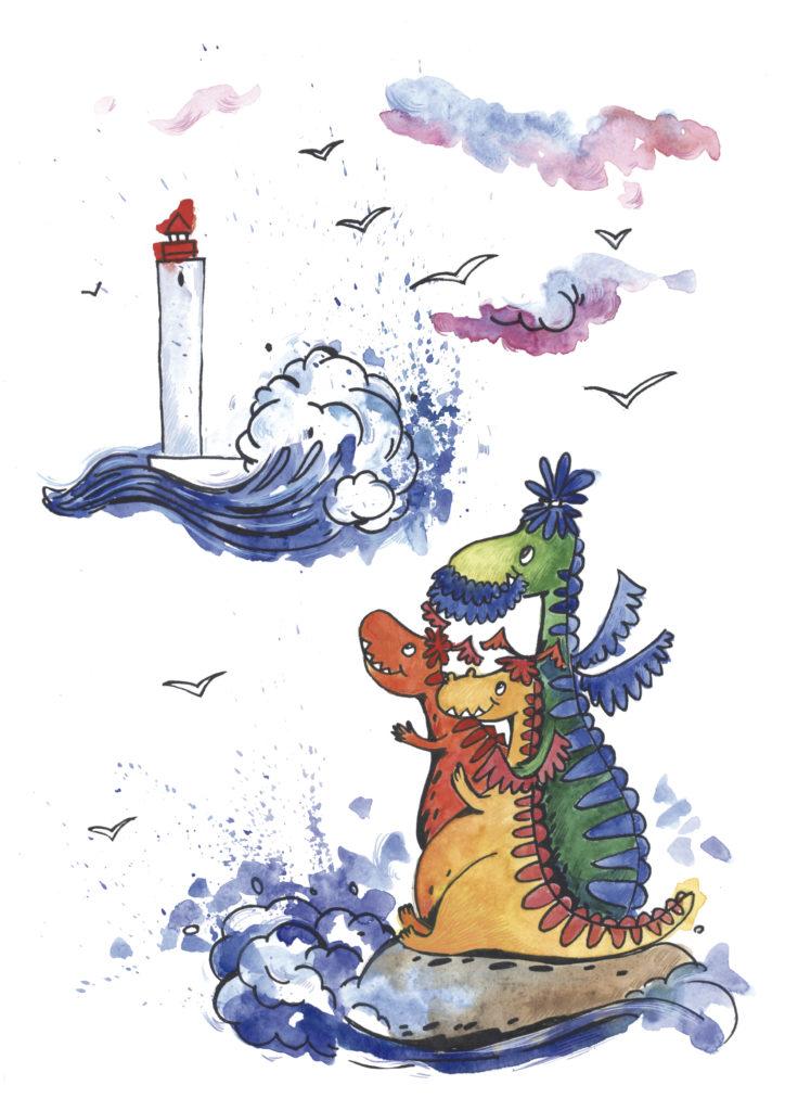 Иллюстрация к книге про драконов. Драконы смотрят на маяк