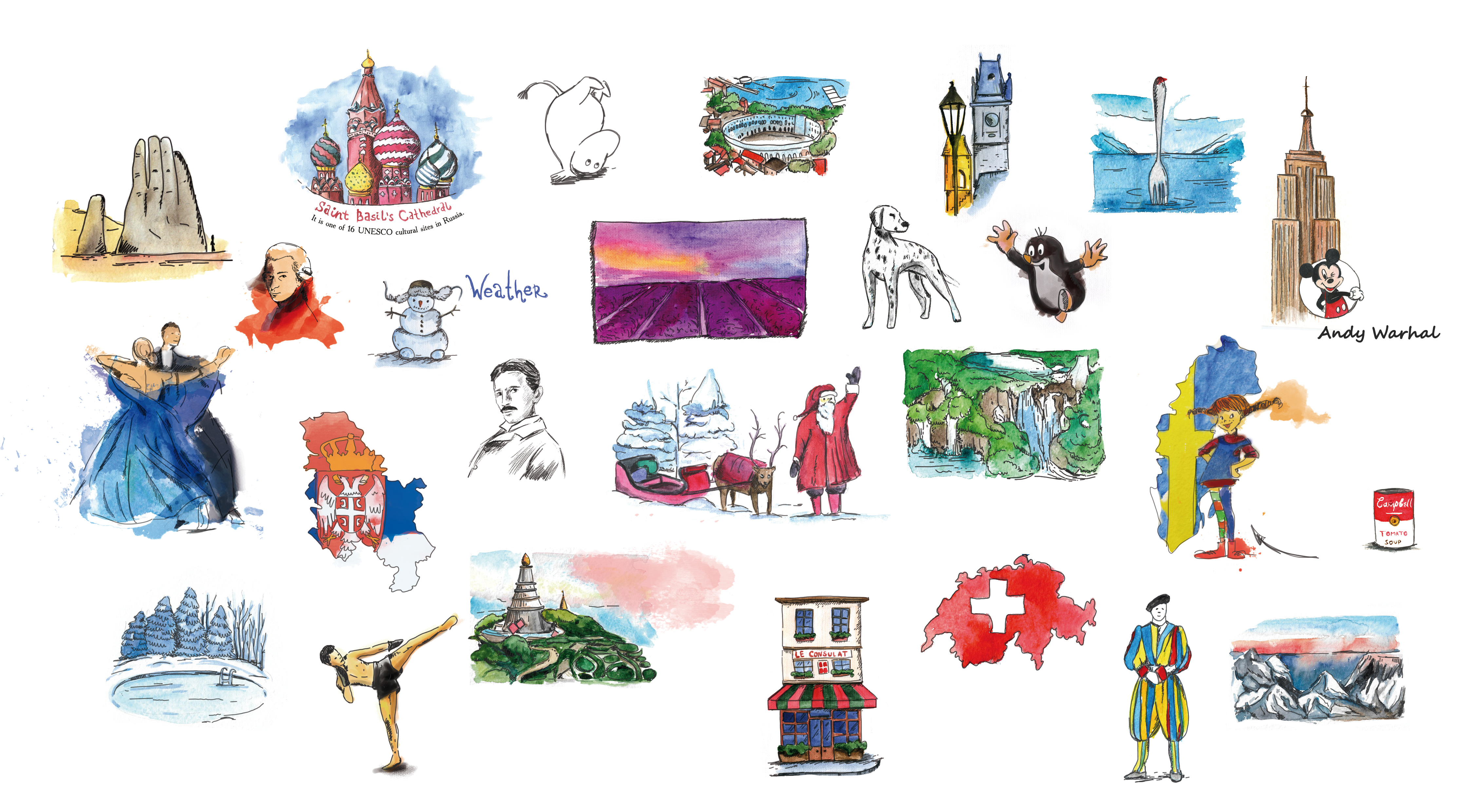 фрагменты открыток о странах мира