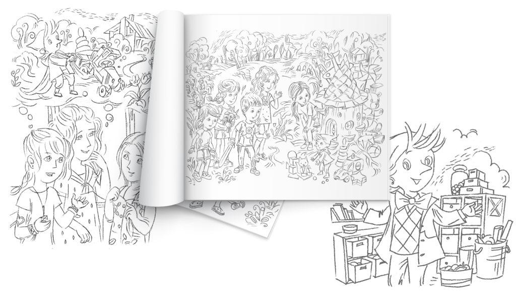 Эскизы иллюстраций для книги Про Полину, Вадима и все-всех-всех!