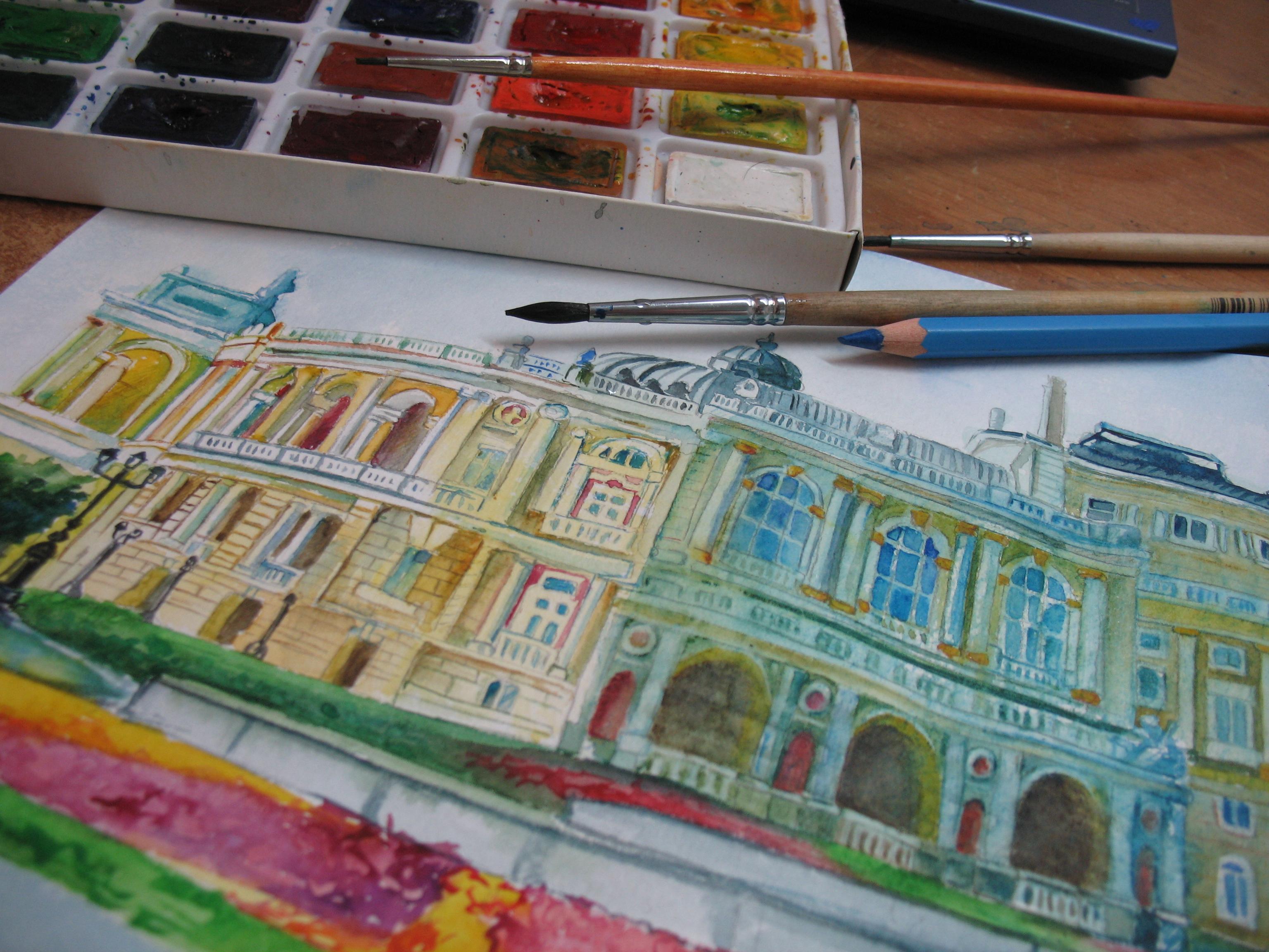 Акварель. Рисование открытки про Одессу