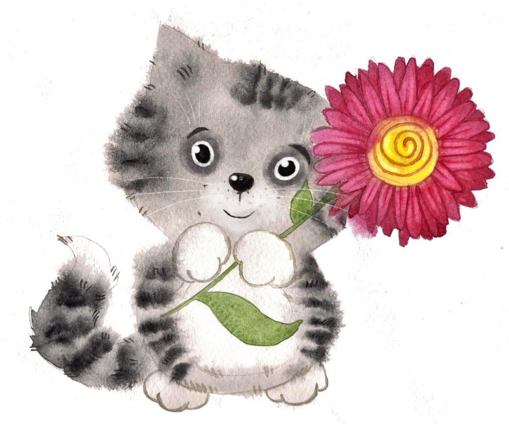 Иллюстрация кот с цветком