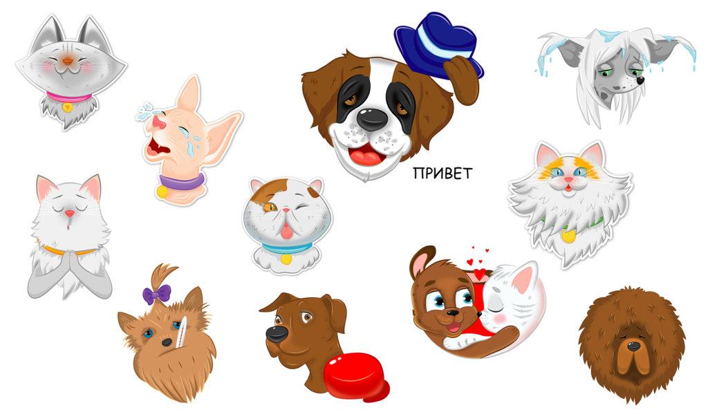 стикеры собаки и кошки для телеграмма