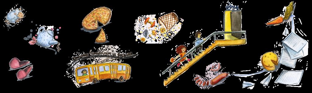 Фрагмент иллюстраций к настольной игре АКТИВ time