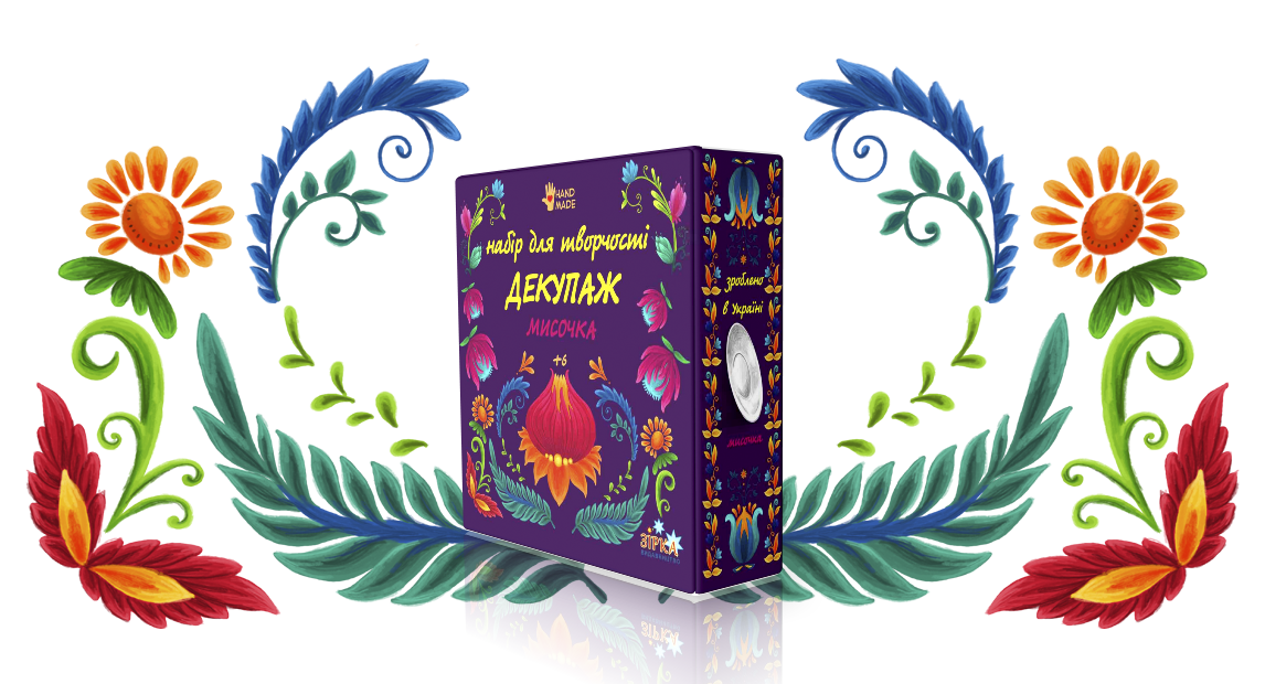 Упаковка декупаж в стиле петровской росписи