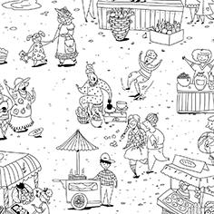 Иллюстрации в стиле дудл для кресла-расскраски